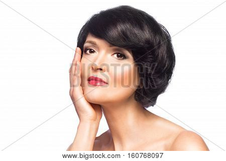 Beautiful brunette woman with perfect fresh clean skin isolated on white background