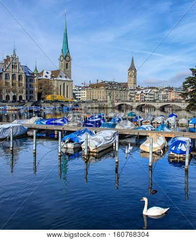 Zurich, Switzerland - 18 January, 2016: swans and boats on the Limmat river, Zurich City Hall building, towers of Fraumunster and St. Peter Church in the background. Zurich is the largest city in Switzerland.