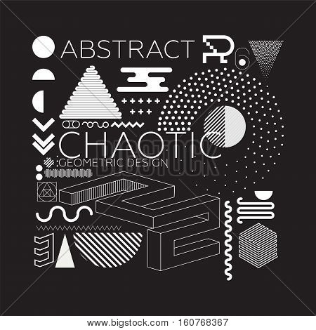 Chaotic geometric abstract background in set with vibrant colors and minimal design with dotted elements in pointillism classical style