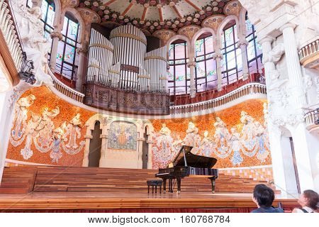 Barcelona, Spain - September 19, 2016: Unique modernist concert hall declared World Heritage building UNESCO Palau de la Musica Catalana or Palace of Music Barcelona Spain