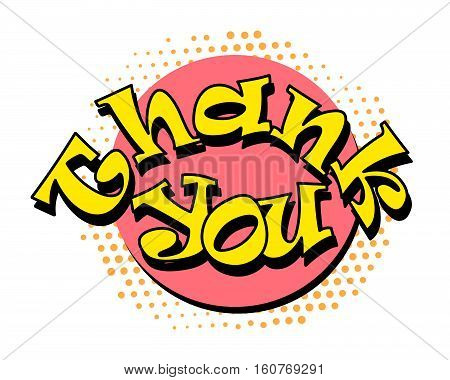 Thank you speech bubble in retro style. Vector illustration isolated on white background