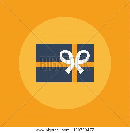 Gift box decoration symbol sign orange icon vector stock