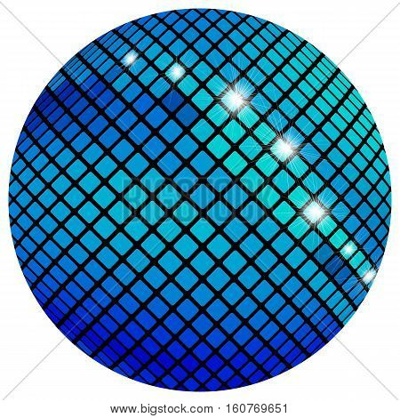 Blue mosaic ball, isolated on a white background.