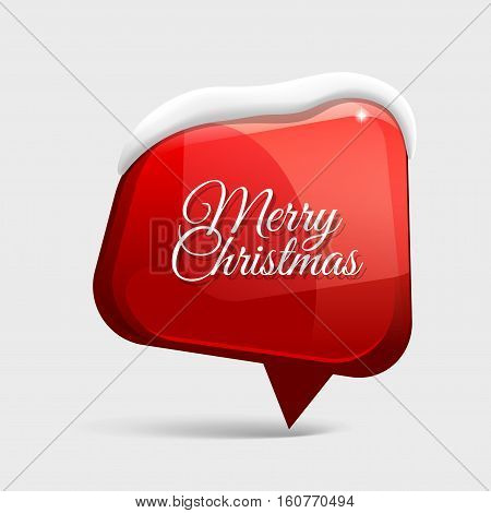 realistic Shiny gloss red banner wit snow. Merry Christmas. Vector illustration.