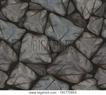 Vector seamless texture of grey colors stonewall.