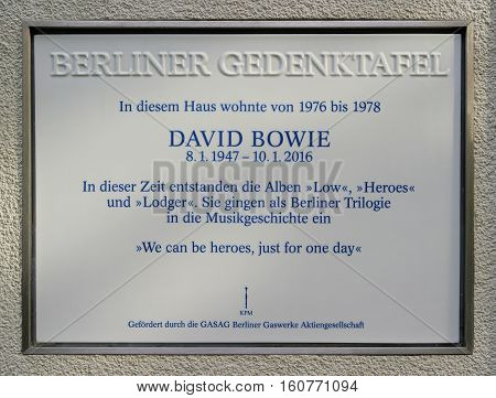 BERLIN, GERMANY - OCTOBER 7, 2016: Memorial plaque to David Bowie to his former home in Berlin Schoeneberg. David Bowie lived from 1976-1978 in the house in the Hauptstrasse 155.