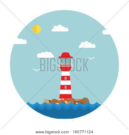 Isolated on background.Lighthouse  icon on horizon.Vector an illustration with a beacon Flat style  template with lighthouse.Sea landscape with a beacon and seagulls.