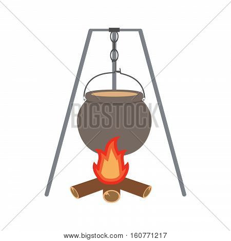Vector flat with a kettle and firewood.Isolated bonfire with camping