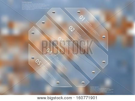 Illustration infographic template with motif of glass octagon askew divided to five sections. Blurred photo with natural motif is used as background with wooden board with worn color.