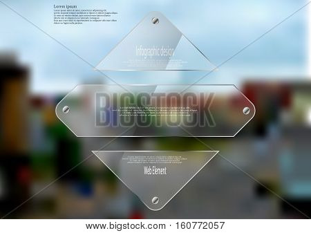 Illustration infographic template with motif of glass rhombus horizontally divided to three sections. Blurred photo with crossroad motif is used as background with street in the city.