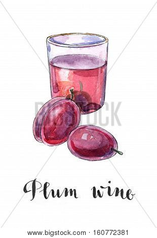 Glass of plum wine hand drawn - watercolor Illustration