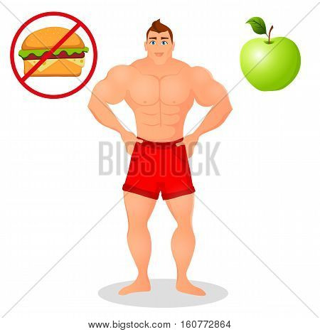 Fitness concept with sport bodybuilder man. Muscular Fitness models. Mens physique athlete. Useful and harmful food. Vector illustration isolated on white background