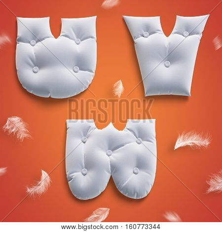 3D Render Soft Pillow Letters Alphabet With Flying White Feathers