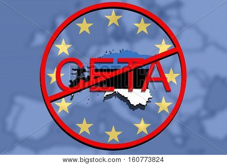 Anty Ceta - Comprehensive Economic And Trade Agreement On Euro Union Background, Estonia Map