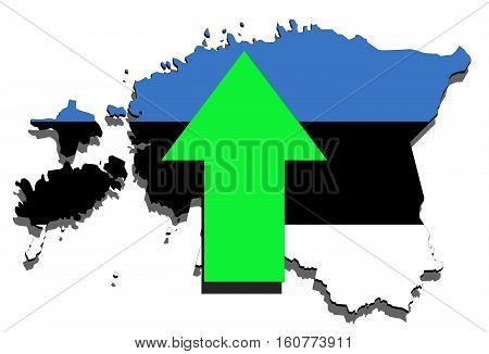Estonia Map On  White Background, Green Arrow Up