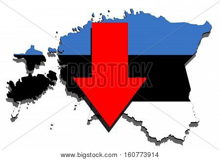 Estonia Map On  White Background, Red Arrow Down