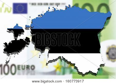Estonia flag map on euro money background
