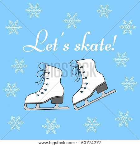 Ice skates and snowflakes vector illustration hand drawn doodle. Winter holiday background with figure skates.