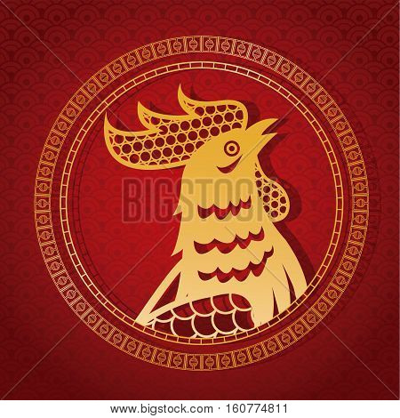 year rooster chinese calendar gold rooster and frame vector illustion eps 10
