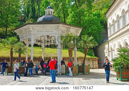 Freedom Spring At Promenade Of Karlovy Vary