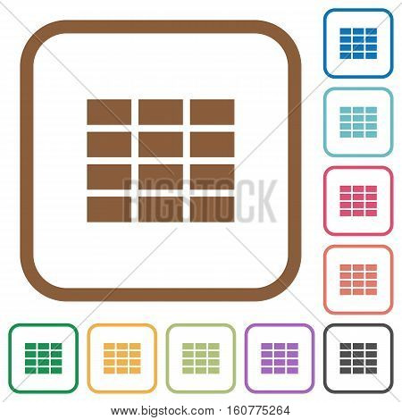 Spreadsheet simple icons in color rounded square frames on white background