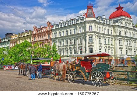 Horse Carriage In Karlovy Vary Of Czech Republic