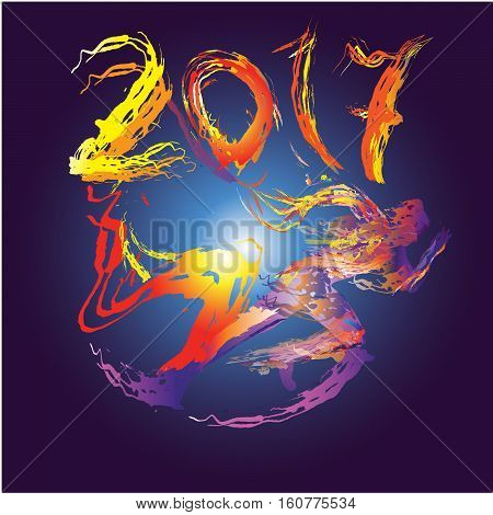 Runner created from flash on the background of 2017. The symbol of the new year.