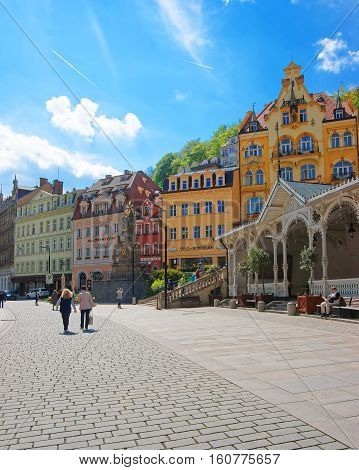 People At Market Colonnade In Karlovy Vary Czech Republic