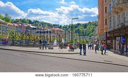 People At Promenade In Karlovy Vary