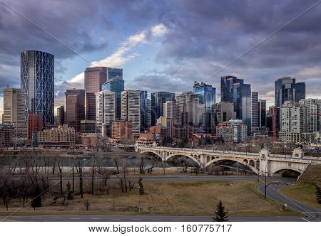 CALGARY, CANADA - NOV 6: Sweeping skyline view just after sunrise on NOVEMBER 6, 2016 in Calgary, Alberta. Calgary is home to many oil companies.