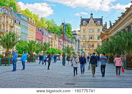 People At Promenade With Mill Colonnade Of Karlovy Vary