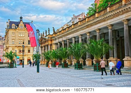 People In Mill Colonnade In Karlovy Vary