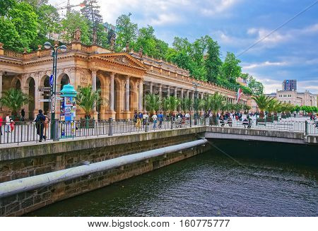 People In Mill Colonnade Of Karlovy Vary Czech Republic