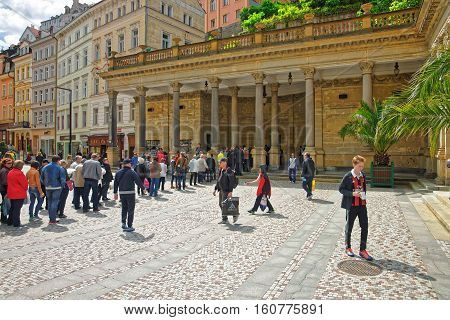 People Staying In Queue At Mill Colonnade Karlovy Vary