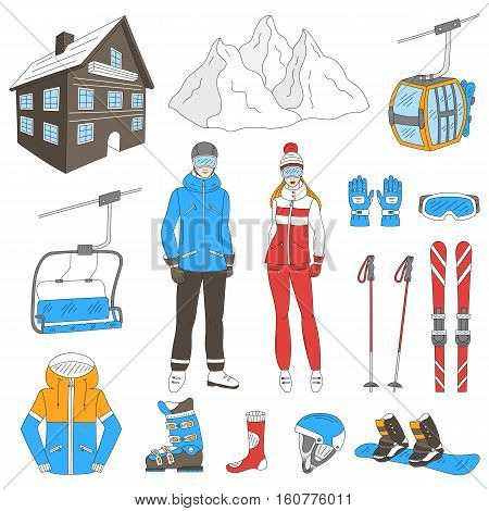 Ski resort icons set snowboarder man and woman, resort hotel, mountains, funicular, chairlift, winter sport equipment, isolated hand drawn doodle vector illustration.