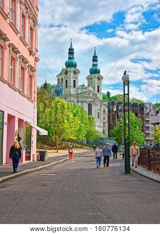 St Mary Magdalene Church And Promenade In Karlovy Vary