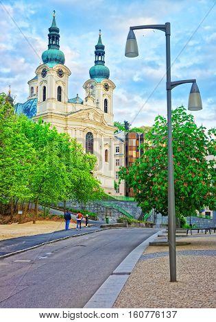 St Mary Magdalene Church And Promenade Of Karlovy Vary