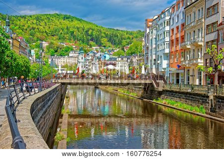 Tepla River And Saint Mary Magdalene Church Of Karlovy Vary