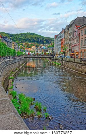 Tepla River And St Mary Magdalene Church In Karlovy Vary