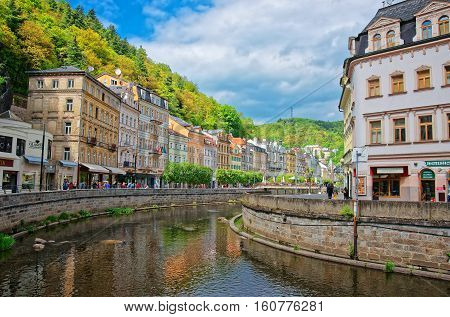 Tepla River And Its Promenade Karlovy Vary