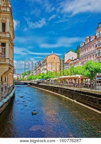 Tepla River And Its Promenade In Karlovy Vary Czech Republic