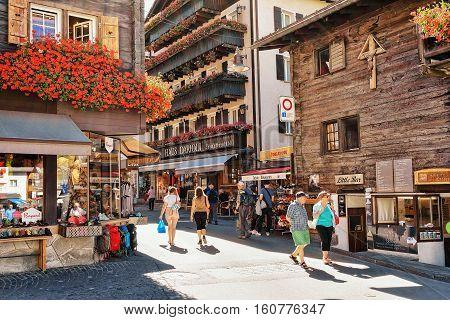 Tourists At Center In Zermatt