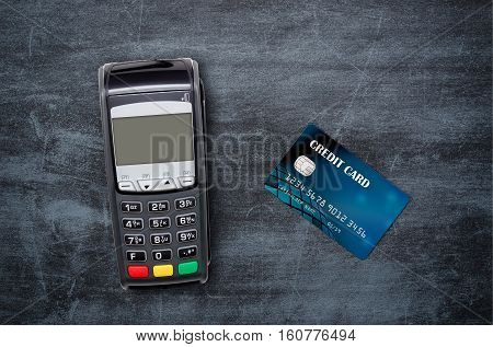 Payment Terminal Top View Composition