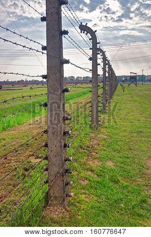 Barbed Wire In Concentration Camp Auschwitz Birkenau