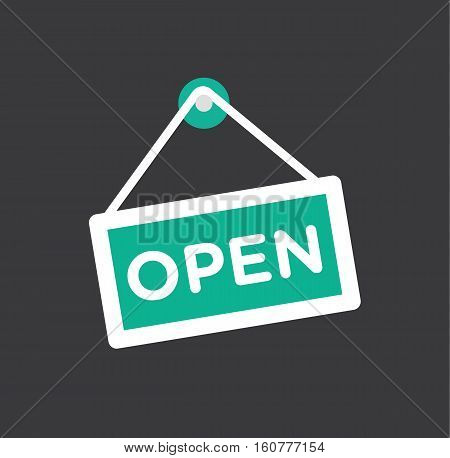 Open store icon symbol - door opening icon flat vector stock