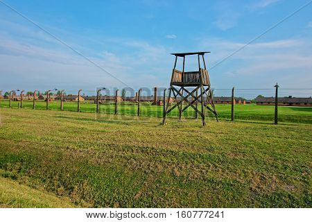 Guard Tower At Auschwitz Birkenau Concentration Camp
