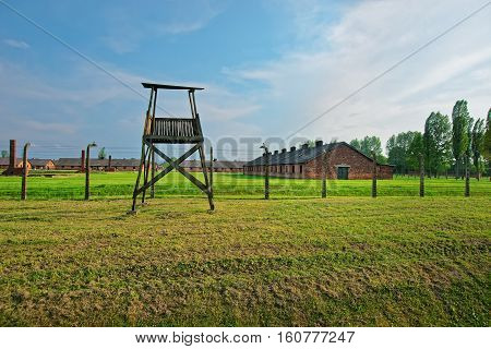 Guard Tower In Concentration Camp Auschwitz Birkenau