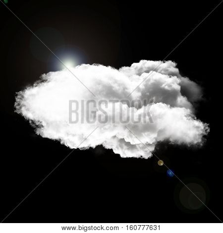 Single white fluffy cloud with sun light and lens flare isolated over black background 3D rendering illustration