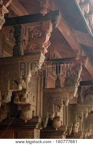 Columns with stone carving in Jahangiri Mahal Agra Fort Uttar Pradesh India