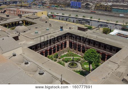 View Roofs And Courtyard Of Convento Santo Domingo From His Belltower,  Lima, Peru.